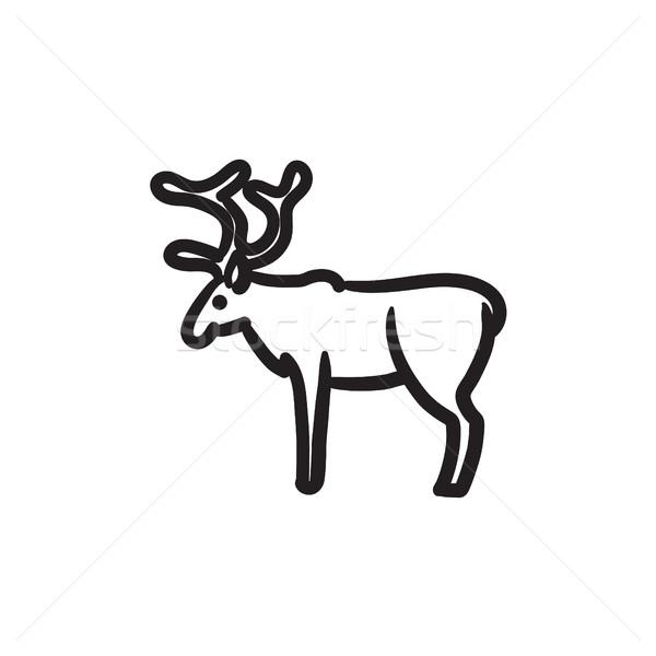 Szarvas rajz ikon vektor izolált kézzel rajzolt Stock fotó © RAStudio
