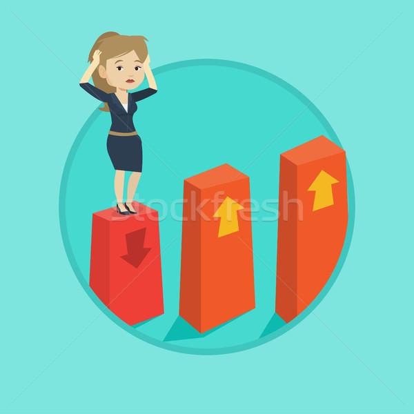 диаграммы вниз кавказский испуганный деловой женщины Сток-фото © RAStudio