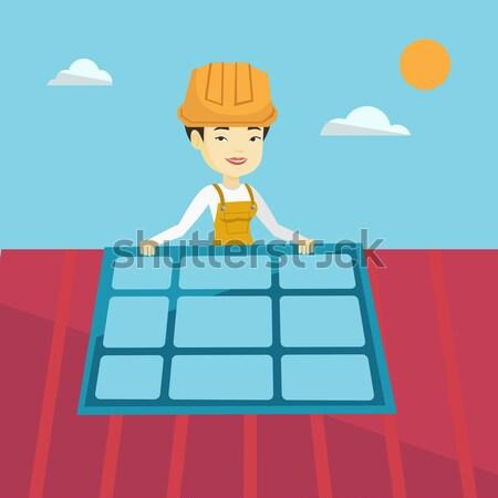 商业照片 / 矢量图: 安装 · 亚洲的 · 技术员 · 太阳能电池板