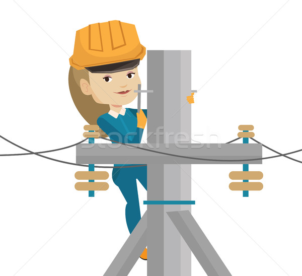 Elettricista lavoro elettrici potere polo femminile Foto d'archivio © RAStudio