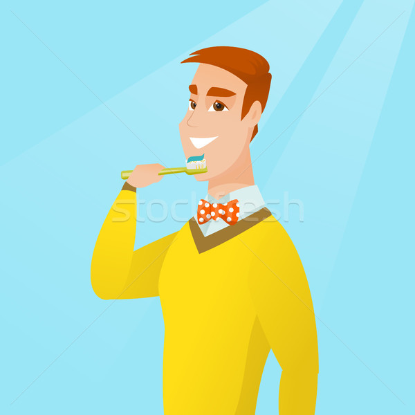 Man brushing her teeth vector illustration. Stock photo © RAStudio
