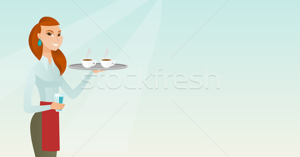 Waitress holding tray with cups of coffeee or tea. Stock photo © RAStudio