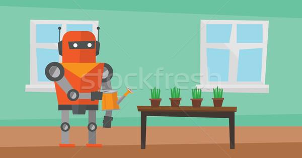 Robot huishoudster bloemen home Stockfoto © RAStudio