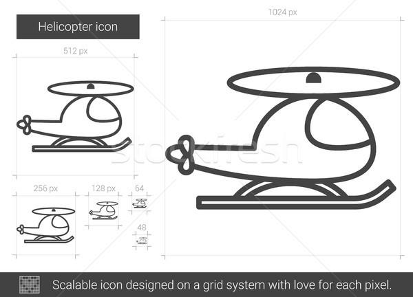 Helicóptero linha ícone vetor isolado branco Foto stock © RAStudio