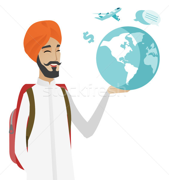 Hindu traveler man holding map and globe. Stock photo © RAStudio