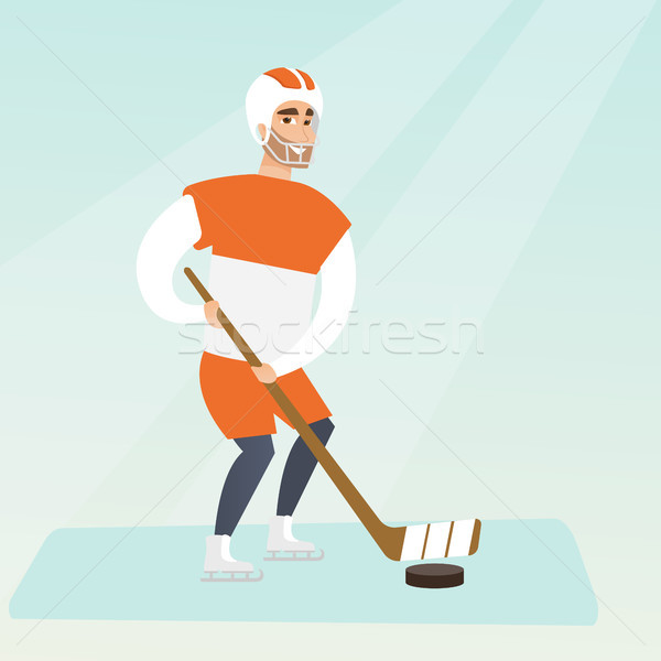 Young caucasian ice hockey player. Stock photo © RAStudio