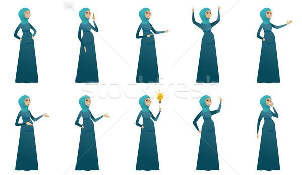 ストックフォト: ムスリム · 妊婦 · ベクトル · イラスト · セット · 小さな