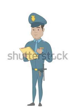 Young caucasian police officer saluting. Stock photo © RAStudio