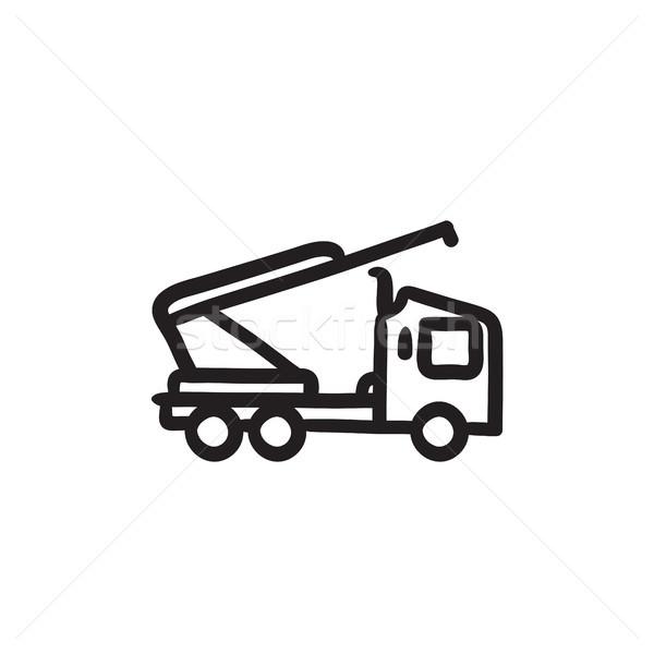 Machine with a crane and cradles sketch icon. Stock photo © RAStudio