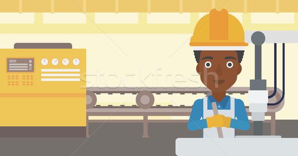 ストックフォト: 女性 · 作業 · 産業 · 訓練 · マシン · 職場