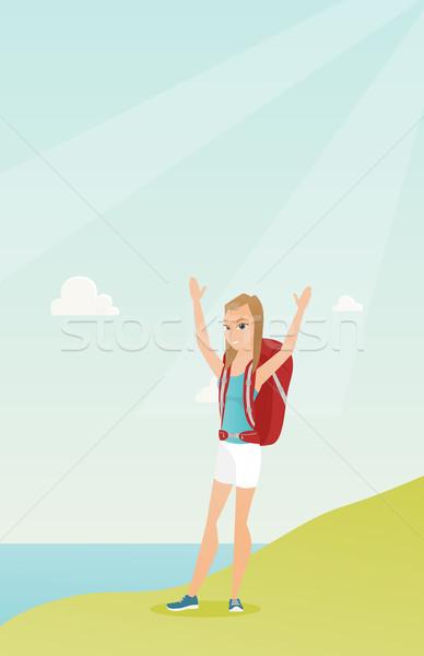 Stock fotó: Fiatal · turista · élvezi · díszlet · kezek · magasban · kaukázusi