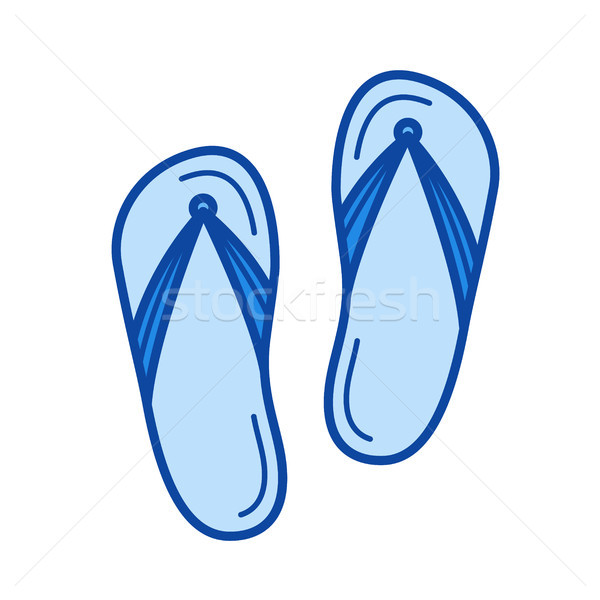 Strand slippers lijn icon vector geïsoleerd Stockfoto © RAStudio