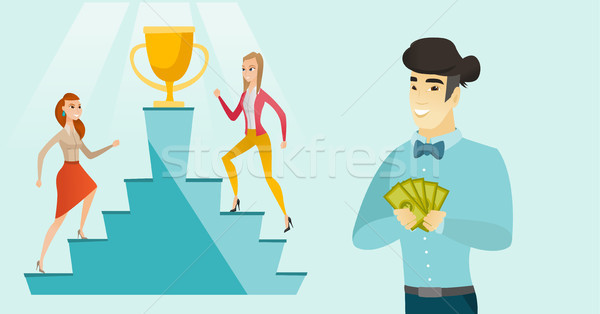 Two young women competing for the business award. Stock photo © RAStudio