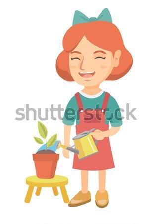Kaukázusi lány locsol növény locsolókanna kicsi Stock fotó © RAStudio