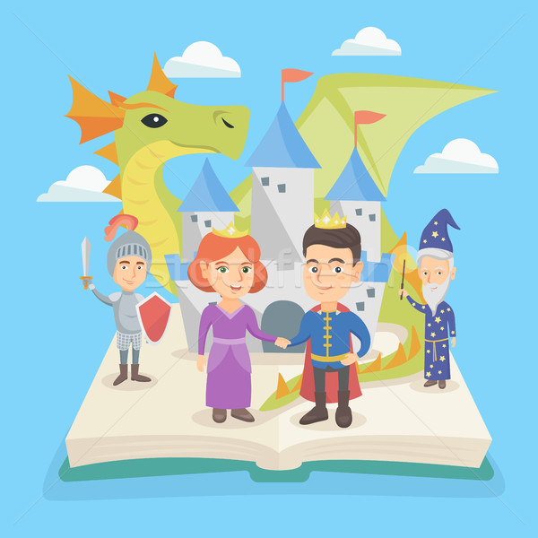 Open book with castle and characters of fairytale. Stock photo © RAStudio