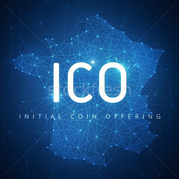ICO initial coin offering banner with France map. Stock photo © RAStudio