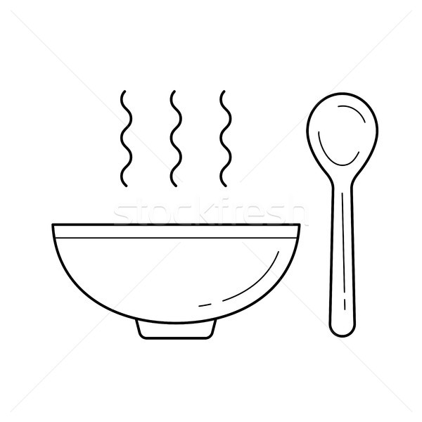 Bowl of soup with spoon vector line icon. Stock photo © RAStudio