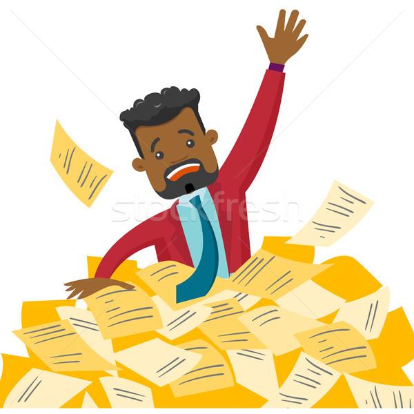 Zakenman zinken hoop papieren overwerkt Stockfoto © RAStudio