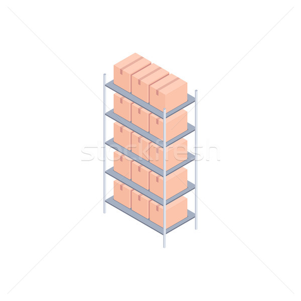 Klein dozen isometrische metaal rack karton Stockfoto © RAStudio