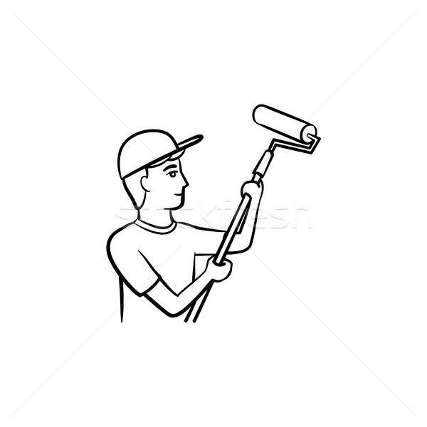 Painter with roller hand drawn sketch icon. Stock photo © RAStudio