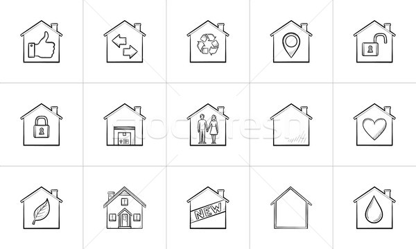 Stock photo: Houses hand drawn outline doodle icon set.