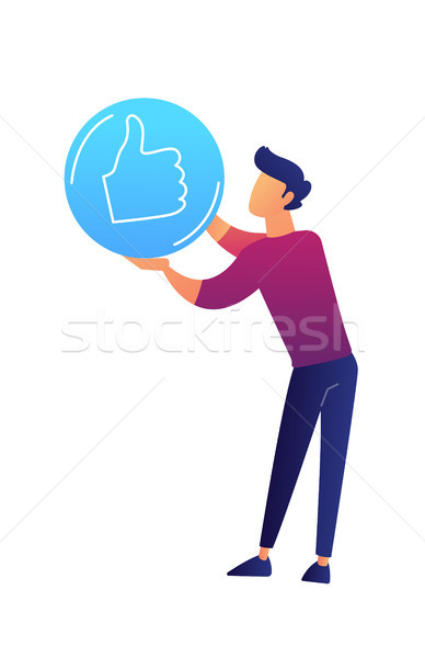 Businessman with thumb up sign vector illustration. Stock photo © RAStudio