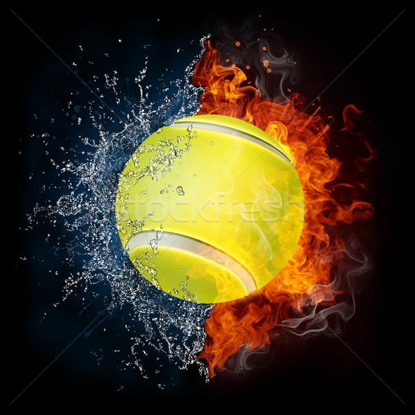 Piłka tenisowa ognia wody odizolowany czarny piłka Zdjęcia stock © RAStudio