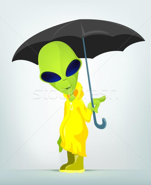 Vicces idegen rajzfilmfigura üzlet boldog zöld Stock fotó © RAStudio