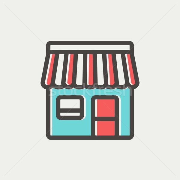 Stockfoto: Store · dun · lijn · icon · web · mobiele