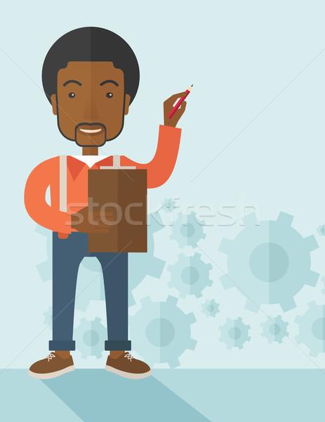 Afryki wykładowca narzędzi sprawozdanie schemat pióro Zdjęcia stock © RAStudio