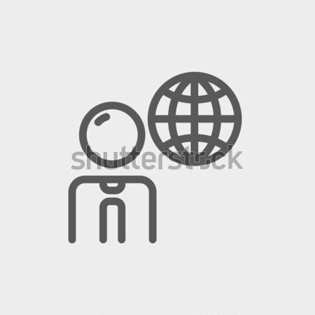 Businessman with global thin line icon Stock photo © RAStudio