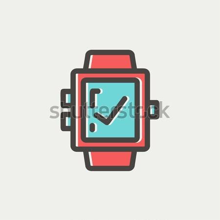 Smartwatch with checj sign thin line icon Stock photo © RAStudio