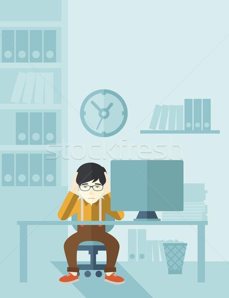 Stock fotó: Túlhajszolt · üzletember · stressz · japán · ül · számítógép