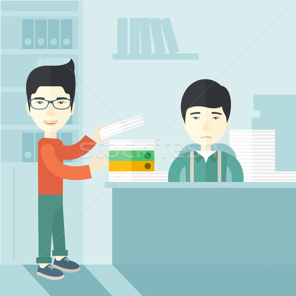 Twee asian kantoor binnenkant man permanente Stockfoto © RAStudio