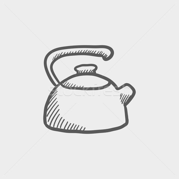 Bogrács rajz ikon háló mobil kézzel rajzolt Stock fotó © RAStudio