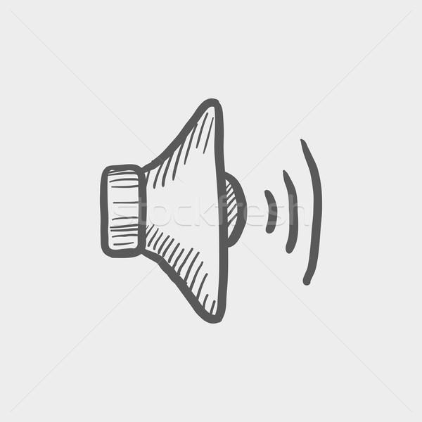 Boceto icono altavoz web móviles dibujado a mano Foto stock © RAStudio