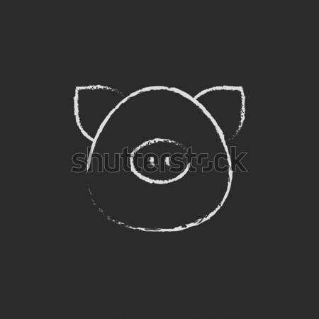 Pig head icon drawn in chalk. Stock photo © RAStudio