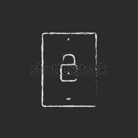 Smartphone security icon drawn in chalk. Stock photo © RAStudio