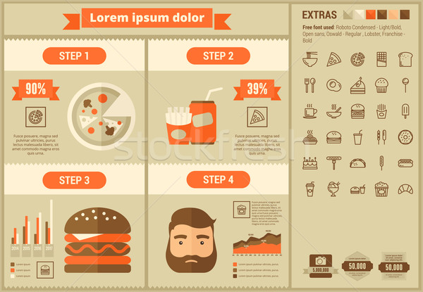Stock photo: Fast food flat design Infographic Template