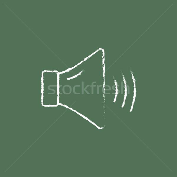 Yüksek konuşmacı hacim ikon tebeşir Stok fotoğraf © RAStudio
