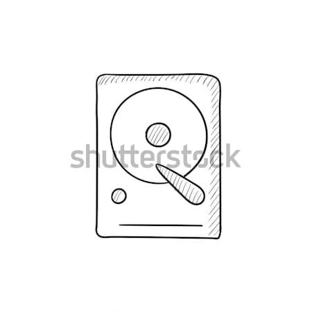 Hard disk icon drawn in chalk. Stock photo © RAStudio