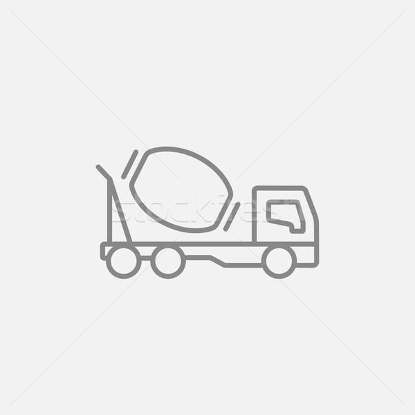 конкретные смеситель грузовика линия икона веб Сток-фото © RAStudio