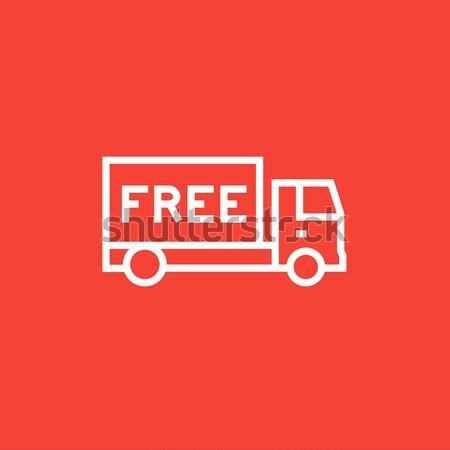 Ingyenes szállítás teherautó vonal ikon háló mobil Stock fotó © RAStudio