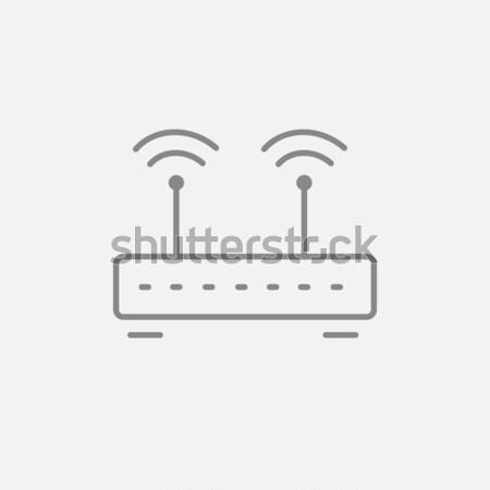 Draadloze router lijn icon web mobiele Stockfoto © RAStudio