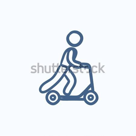 Hombre equitación patear línea icono Foto stock © RAStudio