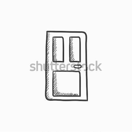 ストックフォト: フロントドア · 行 · アイコン · ウェブ · 携帯 · インフォグラフィック