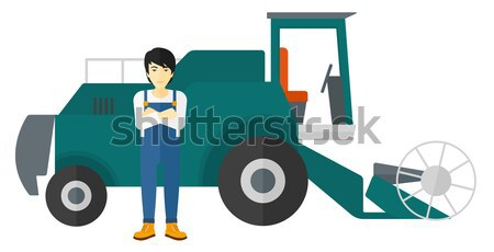Homme permanent agriculteur vecteur design illustration Photo stock © RAStudio