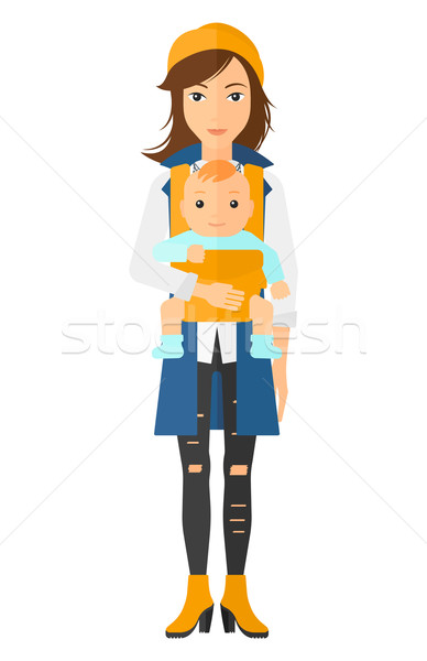 Woman holding baby in sling. Stock photo © RAStudio