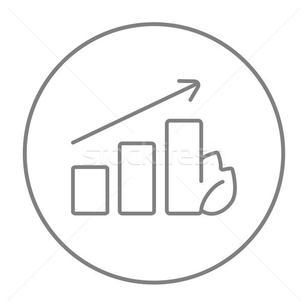 Oszlopdiagram levél vonal ikon háló mobil Stock fotó © RAStudio