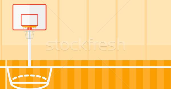 баскетбольная площадка вектора дизайна иллюстрация горизонтальный макет Сток-фото © RAStudio